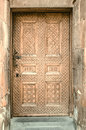 Lateral wooden door with carved patterns  Apostolic Church in Echmiadzin on the Armenian Royalty Free Stock Photo