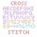 The latin alphabet large english letters cross stitch numbers and signs isolated on white background vector illustration Stock Photography