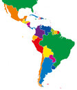 Latin America single states map full color