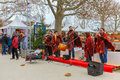 Latin american ensemble buskers in paris france december national dress poncho at the christmas market on the champ de mars near Royalty Free Stock Photo