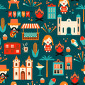 Latin American holiday, the June party of Brazil. Flat seamless pattern