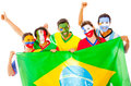 Latin group with Brazilian flag Royalty Free Stock Photo