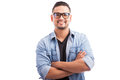Latin hipster young man smiling Royalty Free Stock Photo