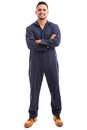 Latin mechanic wearing overalls Royalty Free Stock Photo