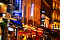 Latin quarter of paris by night famed for its nightlife has about restaurants Royalty Free Stock Image