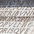 Latin type serif carved in marble Stock Photography