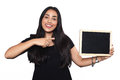 Latin woman holding chalkboard. Royalty Free Stock Photo