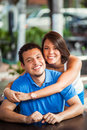 Latin young couple outdoors beautiful having fun Stock Photography