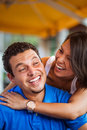 Latin young couple outdoors beautiful having fun Stock Image