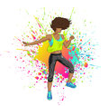 Latina dancing zumba latin fitness girl over colorful splatter Stock Photography