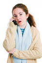 Latina tween on cellphone cute teenage girl talking the phone with shocked expression isolated white Royalty Free Stock Image