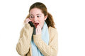 Latina tween gossips on the phone teenage girl gossiping with friends her cellphone isolated white Royalty Free Stock Photo