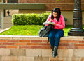 Latina University Student Studying On Campus Stock Images