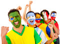 Latinamerican team with arms up Royalty Free Stock Photo