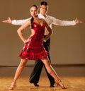 Latino dance couple in action - dancing wild samba Royalty Free Stock Photo