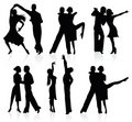 Latino dancing silhouettes. Royalty Free Stock Images