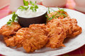 Latke potato pancake with sour cream latkes hebrew pancakes served Stock Image