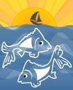 Lato temat z morzem sylwetką na horizont rybią kreskówki słońca i małego statku wektorowy pojęcie dla łowić sport rybia Obrazy Royalty Free