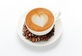 Latte art coffee beans isolate white Royalty Free Stock Photography