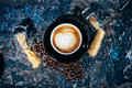 Latte art on cups of coffee at bar, pub or restaurant Royalty Free Stock Photo