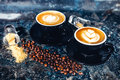 Latte art espresso coffee. Black coffee served in bar Royalty Free Stock Photo
