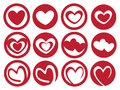 Latte Art Inspired Heart in Cup Vector Icon Set Royalty Free Stock Photo