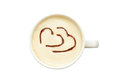 Latte art isolated cup of coffee with hearts photo a white on white background view from above drawing on the foam food Royalty Free Stock Photography
