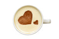 Latte art isolated cup of coffee with hearts photo a white on white background view from above drawing on the foam food Royalty Free Stock Image
