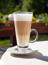 Latte cafe fresh coffee drink in glass Royalty Free Stock Images
