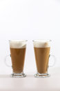 Latte coffee on white background two cups Stock Photography