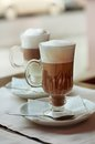 Latte and  macchiato in a cafe Royalty Free Stock Photo