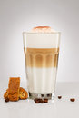 Latte macchiato with chocolate powder coffee beans and cookies cantuccini on gray background Royalty Free Stock Photo