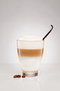 Latte macchiato with a vanilla bean and coffee beans on gray background Royalty Free Stock Photo