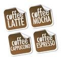 Latte, Mocha, Cappuccino and Espresso coffee