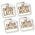 Latte, Mocha, Cappuccino and Espresso coffee Royalty Free Stock Photo