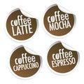 Latte, Mocha, Cappuccino and Espresso coffee Royalty Free Stock Photo