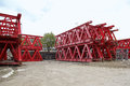 Lattice beams support red for bridge construction Royalty Free Stock Image