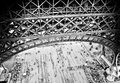 Lattice below structure on lower level of eiffel tower paris Royalty Free Stock Photo