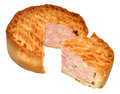 Lattice pork pie a filled with a portion cut out isolated on a white background Royalty Free Stock Images