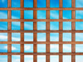Lattice wooden on blue sky background Stock Photos
