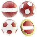 Latvia football team attributes isolated set of four soccer ball on white Stock Images