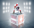 Latvia switzerland tournament game ready for face off player on the ice cube Stock Images