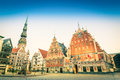 Latvia vintage retro postcard of Town Hall Square in Riga Royalty Free Stock Photo