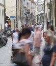 Laubengasse in meran merano italy july crowd pushes through the pedestrian zone Royalty Free Stock Photo