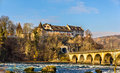 Laufen Castle and railway viaduc at Rhine Falls Royalty Free Stock Photo