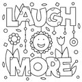 Laugh more. Coloring page. Vector illustration.
