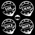 Laugh stamps lol lmao lolz and rofl laughter acronyms isolated on black background Royalty Free Stock Photography