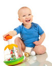 Laughin toddler boy with favorite Royalty Free Stock Photos