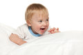 Laughing baby boy white background Stock Photo