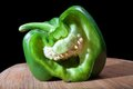 Laughing bell pepper that has been cut and looks like it is Royalty Free Stock Photo